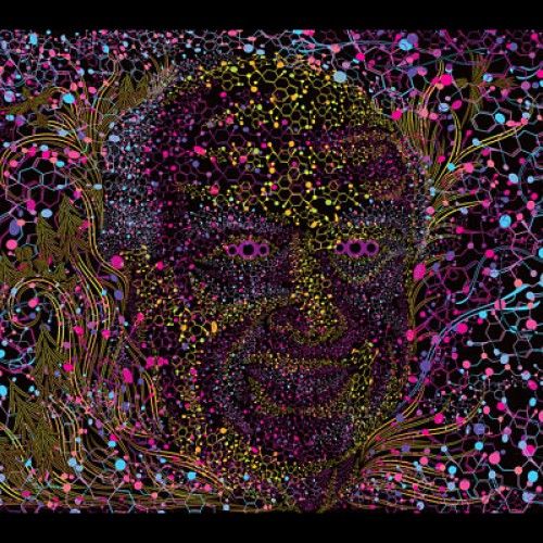 "Psychedelic art uv active tapestry ""Albert Hofmann Portrait"""