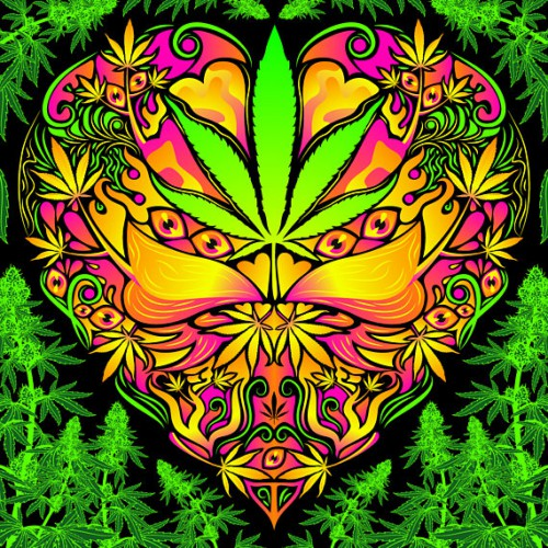 "Fluorescent acid hippie  tapestry ""Cannabis Love"""
