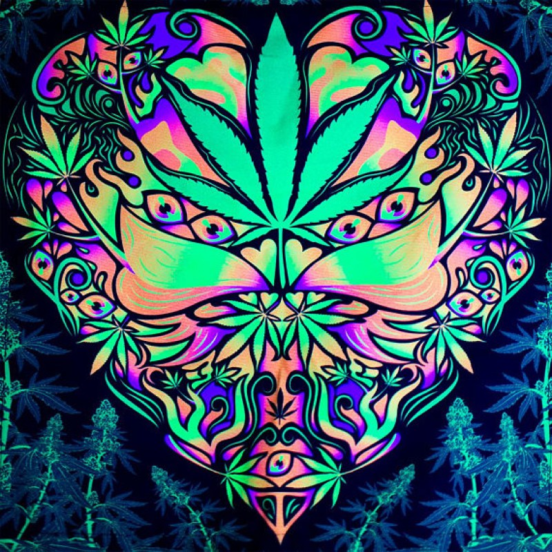 "Fluorescent acid hippie  tapestry ""Cannabis Love"""