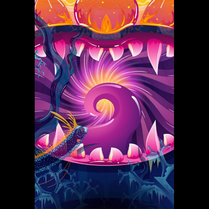 "UV active meditation tapestry ""Frozen Corals"""