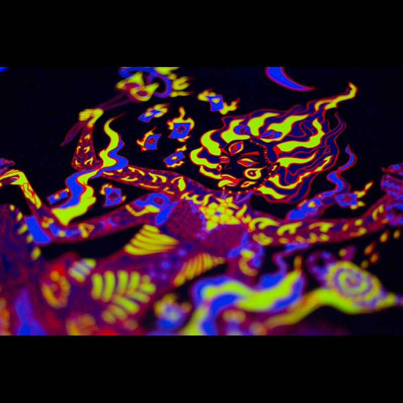 "UV active psychedelic acid backdrop ""Kali in Wonderland"""