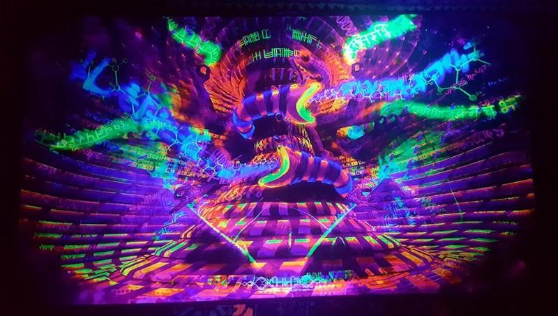 Blacklight trippy psychedelic art Noetic Vortex