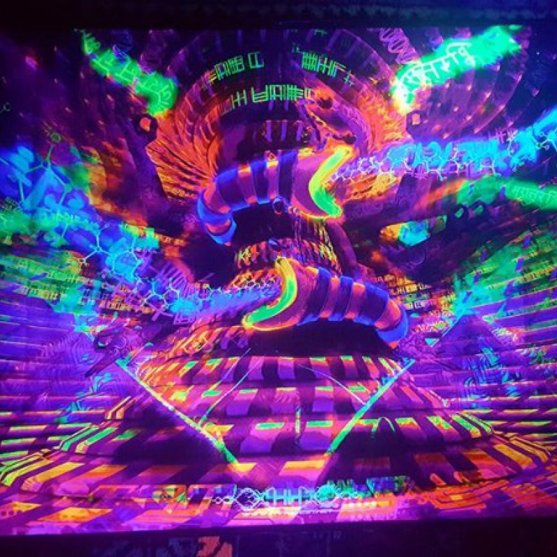 Blacklight trippy psychedelic art Noetic Vortex