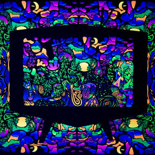 "UV active psychedelic acid backdrop ""Trippy TV"""