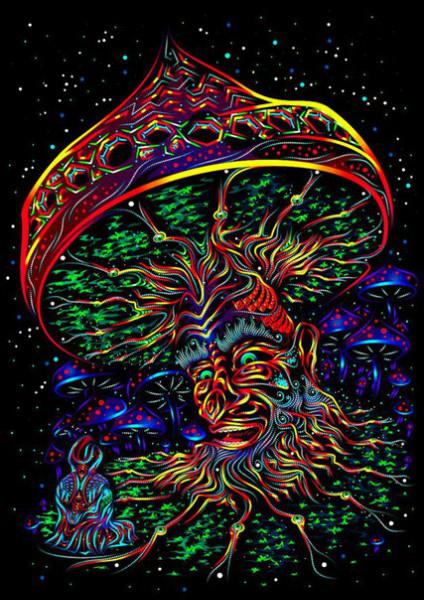 "Fluorescent mushroom tapesrty neon art ""Wise Mushroom"""