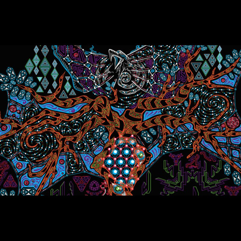 """UV active psychedelic sacred backdrop """"Yggdrasil the Tree of Life"""""""