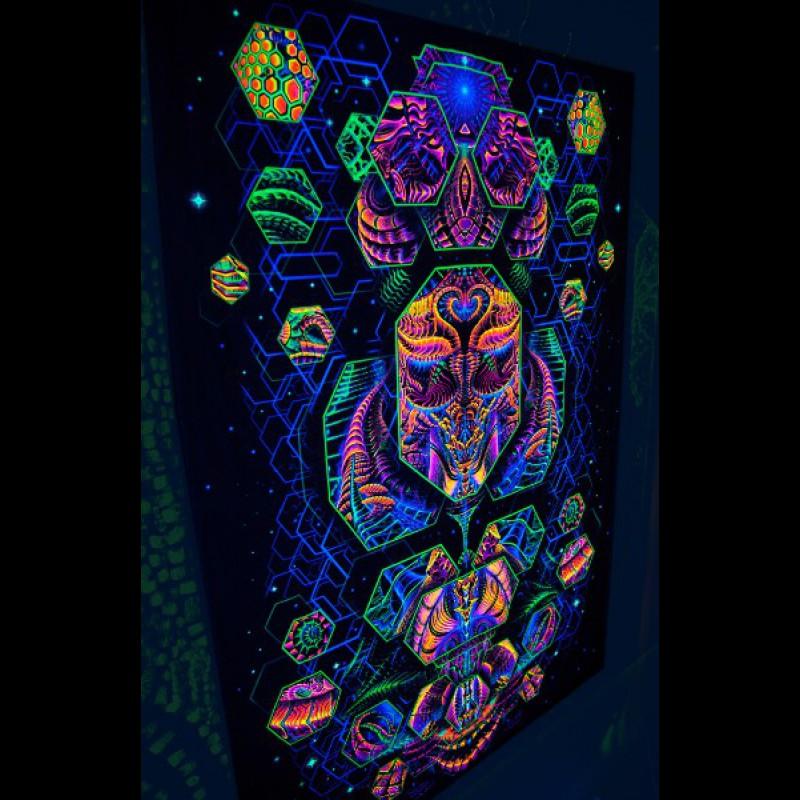 Blacklight psychedelic artwork « Dimension Matrix».