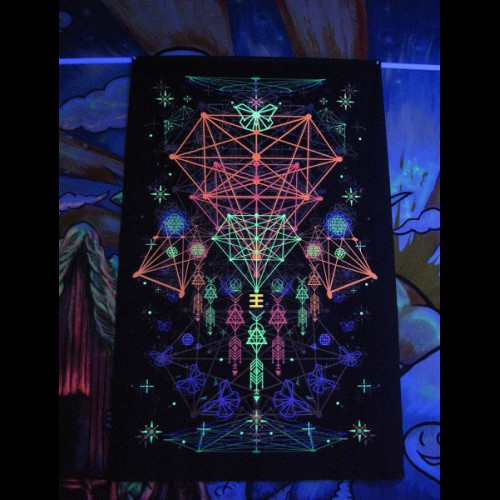 "UV active trippy psychedelic canvas ""Astral Geometry"""
