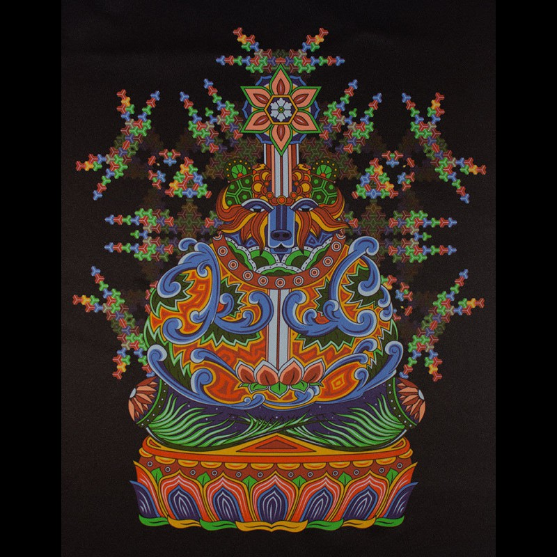 """Psychedelic fluorescent tapestry """"Bear Meditation"""""""