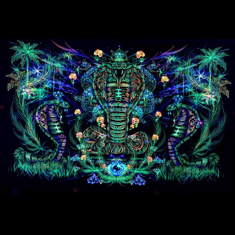 "Psychedelic trippy blacklight active tapestry ""Sacred Cobra""."