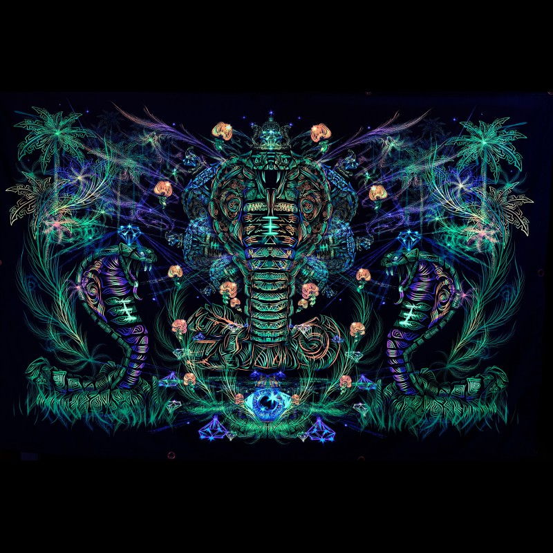 "Psychedelic trippy blacklight active tapestry ""Sacred Cobra""."
