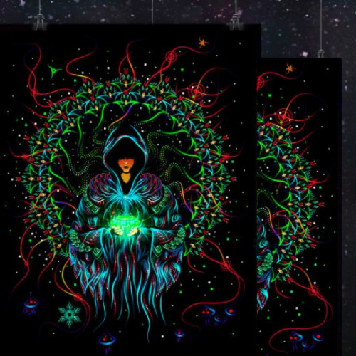 "Psytrance trippy UV backdrop ""Crystal Wizard"""