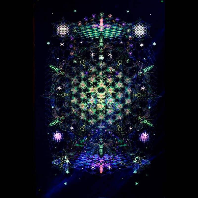 "UV decoration psychedelic backdrop ""Fractal Bee"""
