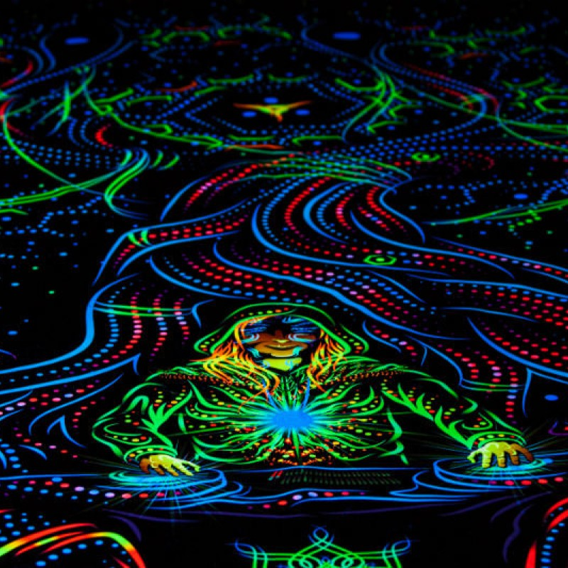 "Blacklight active psychedelic backdrop ""Endless Glade"""