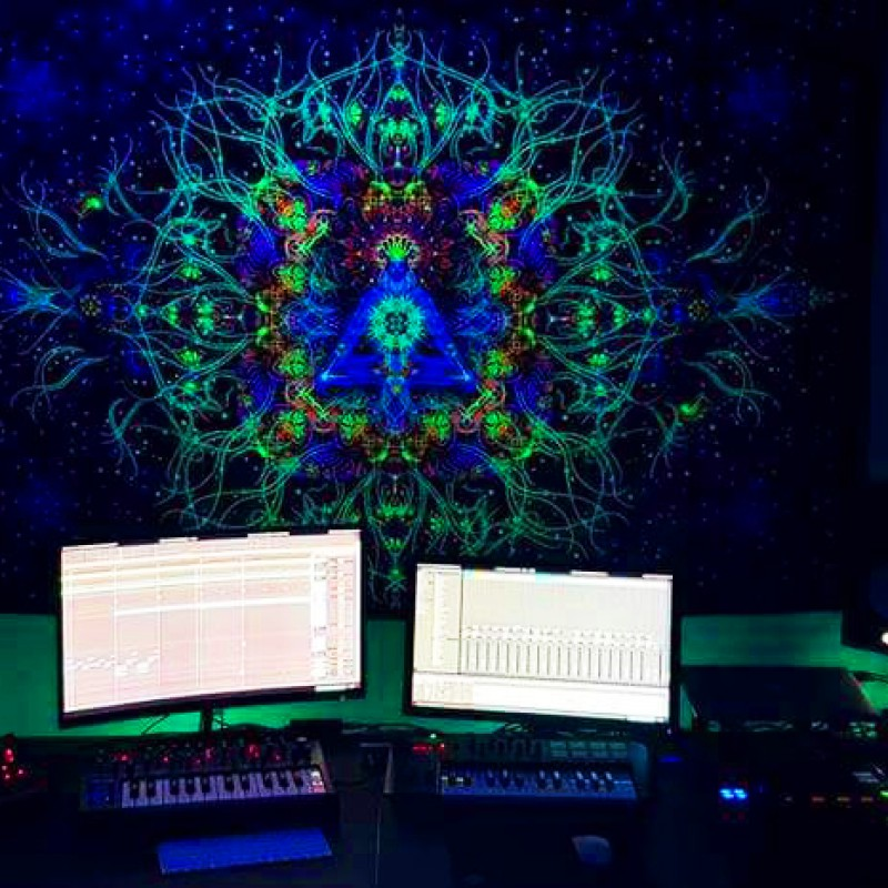 "Fluorescent meditation backdrop ""Reincarnation"""