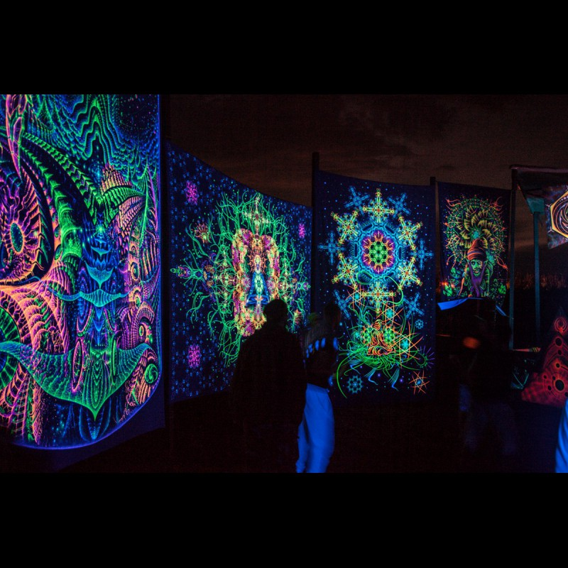 "Fluorescent luminous backdrop ""The Master of Portals"""