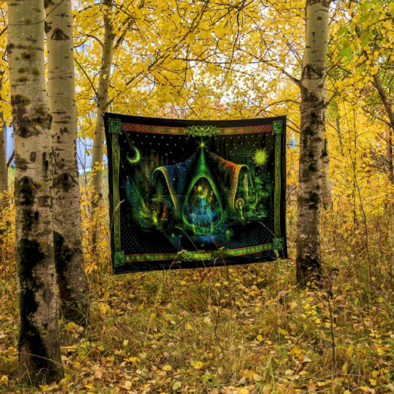 "Fluorescent hippie wall hanging  ""Alchemy"""