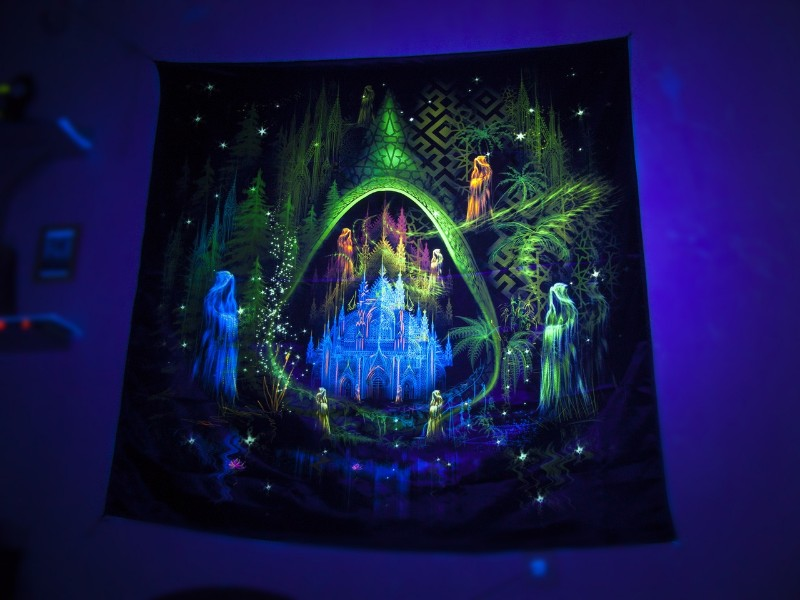 "Fluorescent UV reactive tapestry ""Trilogy. Episode II. Architect.""  (""The Architect"")."