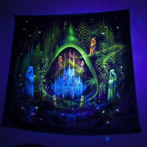"Fluorescent UV reactive tapestry ""Trilogy. Episode II. Architect."" ..."