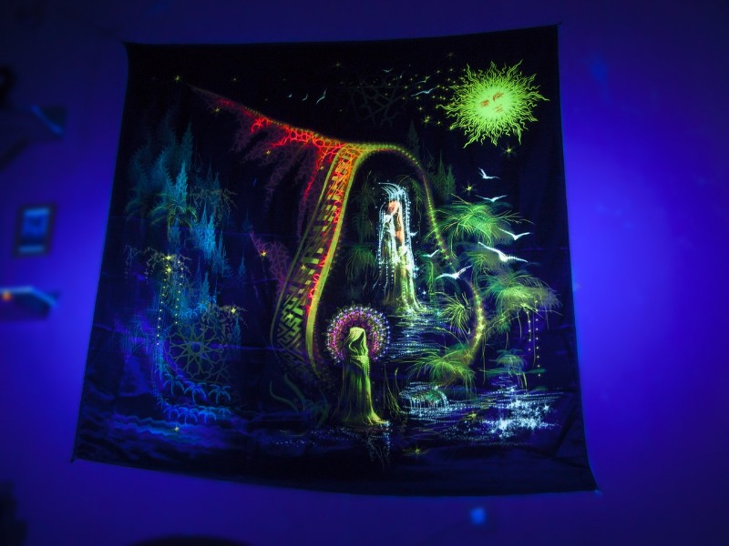 "UV psychedelic tapestry ""Trilogy. Episode III. Spirit Of Water."""