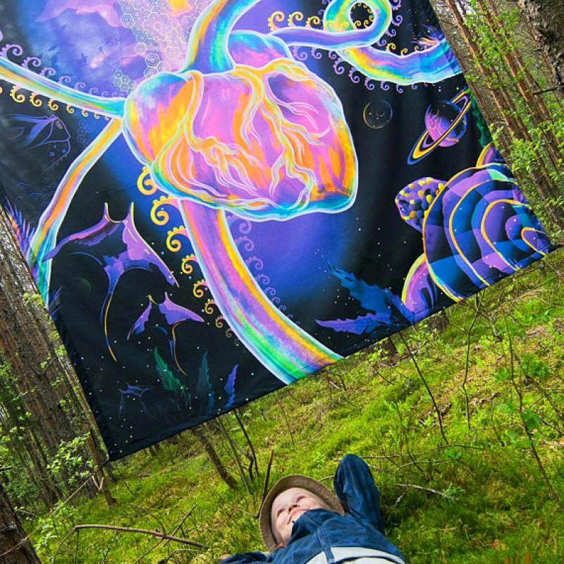 """Fluoro glow tapestry """"Psychedelic Evolution"""""""