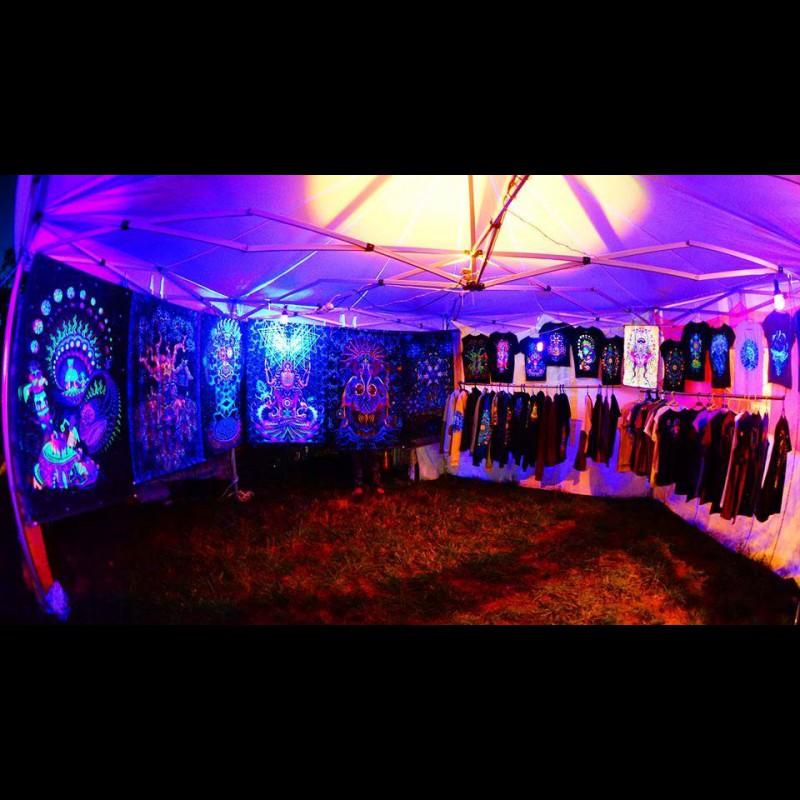 "3D blacklight psychedelic fluoro  tapestry  ""Ganesha"""