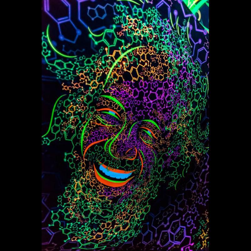 "Psychedelic art uv active tapestry ""Alexander Shulgin Portrait"""