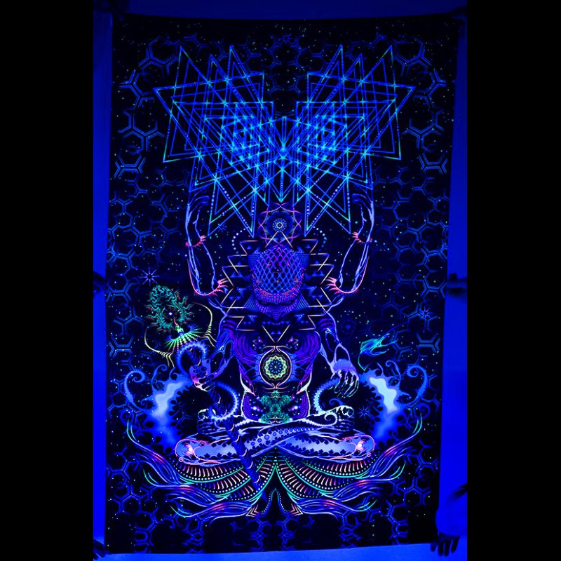 "Psychedelic fluorescent 3D bedroom tapestry ""Macrocosm"""