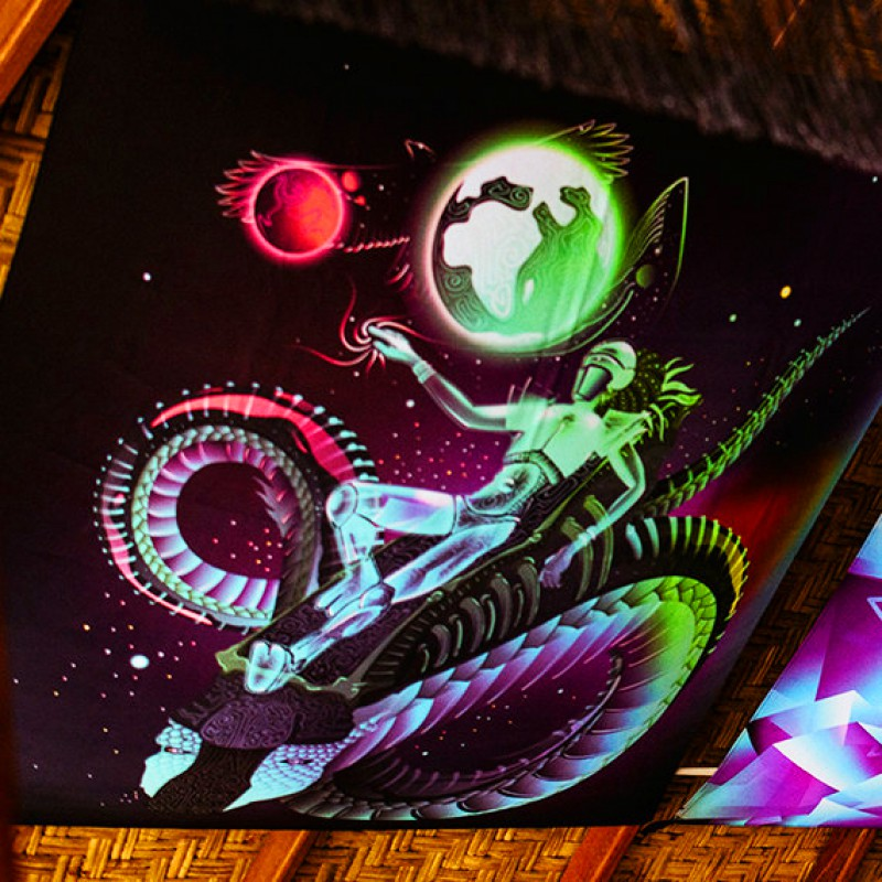 "Blacklight visionary UV active backdrop  ""Space traveler"""