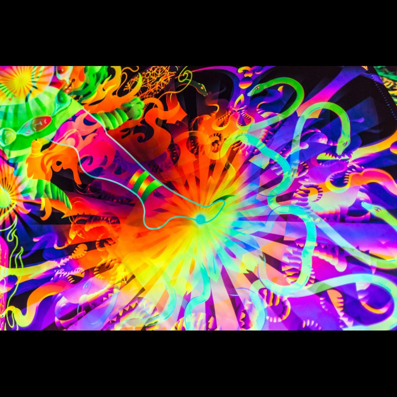 Psychedelic Fluorescent UV-Reactive Tapestry Hayagriva's Eyes