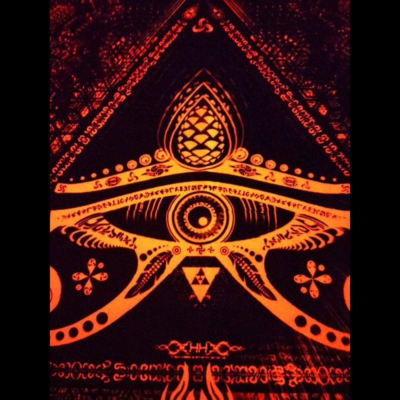 Hippie wall decor, fluorescent tapestry Singular Sight