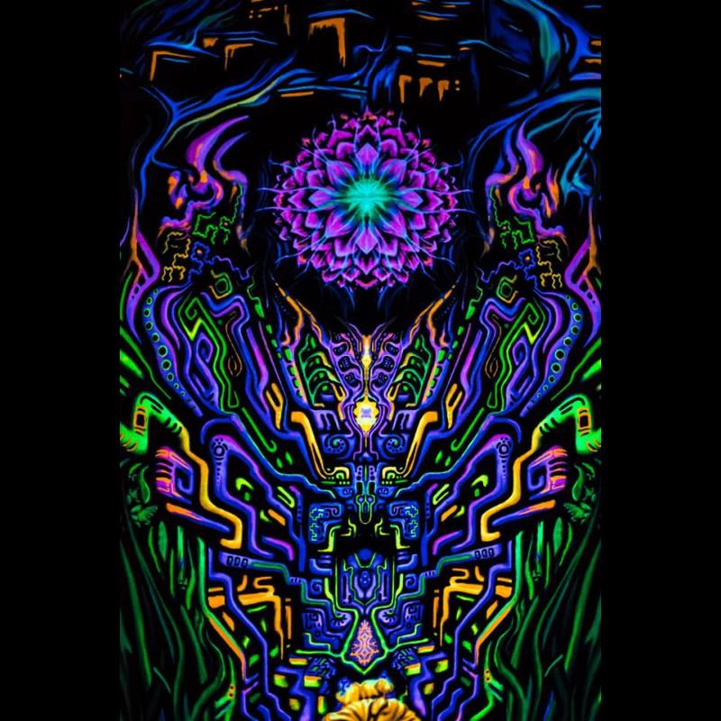 Psychedelic meditative spiritual painting backdrop Shambhala.