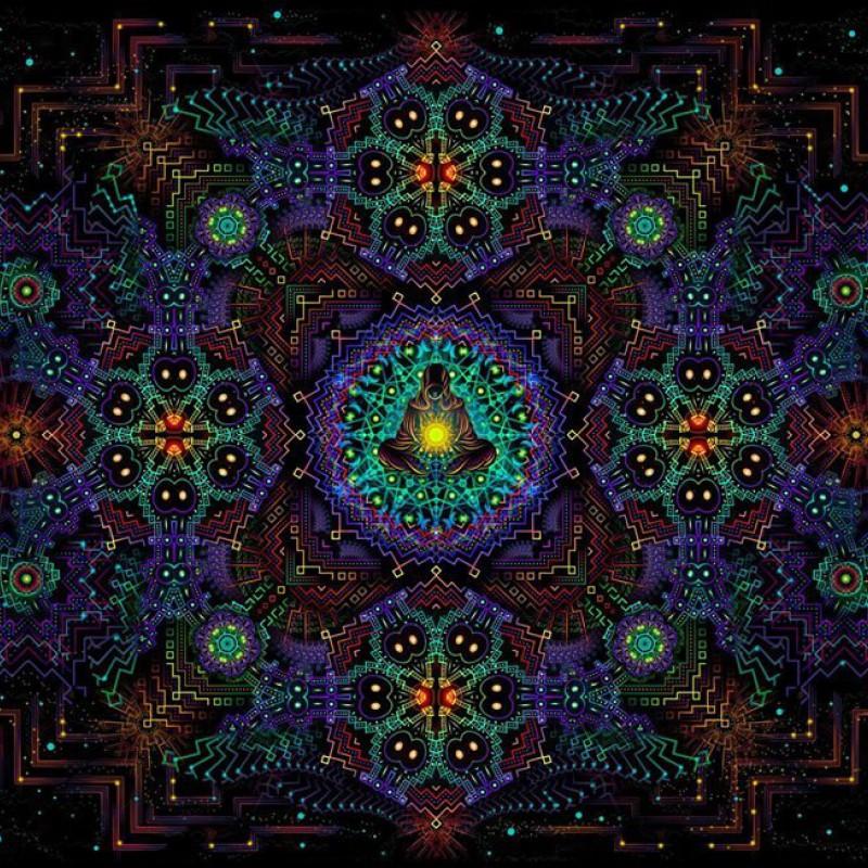 Black light painting UV poster Fractal Depths.