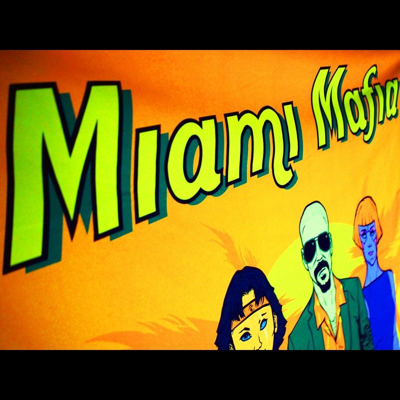 UV neon wall hanging active in ultraviolet Miami Mafia.