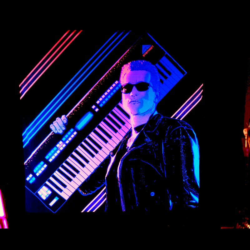 Darksynth retrowave neon fluorescent backdrop Judgment Day.