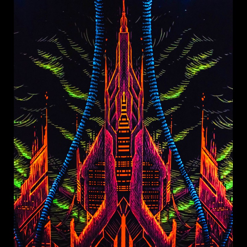 Retrowave decoration festival backdrop Cyber Temple.