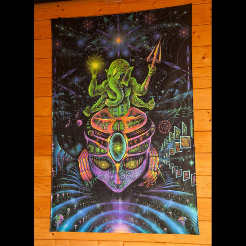 "Fluorescent sacred backdrop ""Ganesh"""