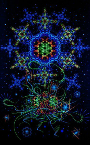 "UV decoration psychedelic fluorescent backdrop ""Space of Power"""