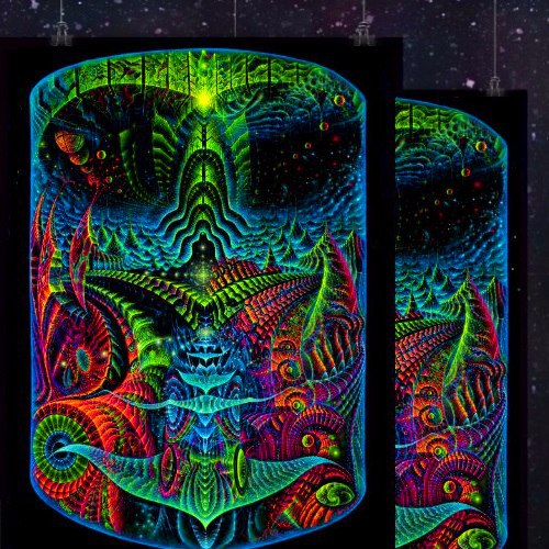 """Juicy, fluorescent glowing backdrop """"Search a source""""."""