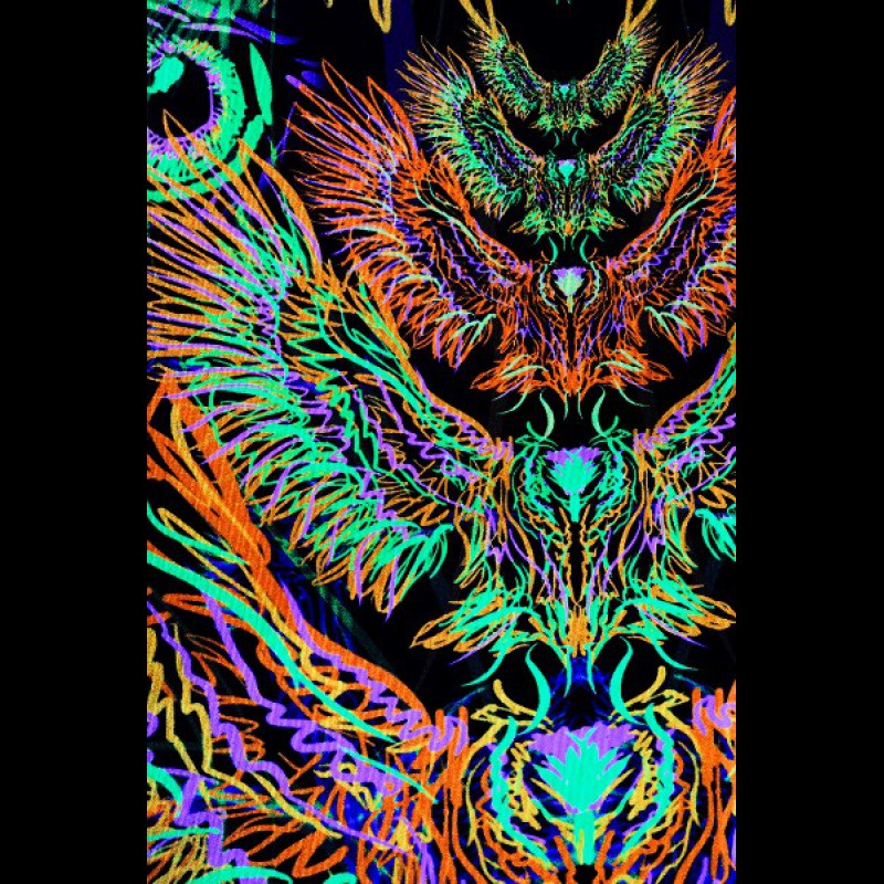"UV active visionary art banner ""Fairy Fenix"""