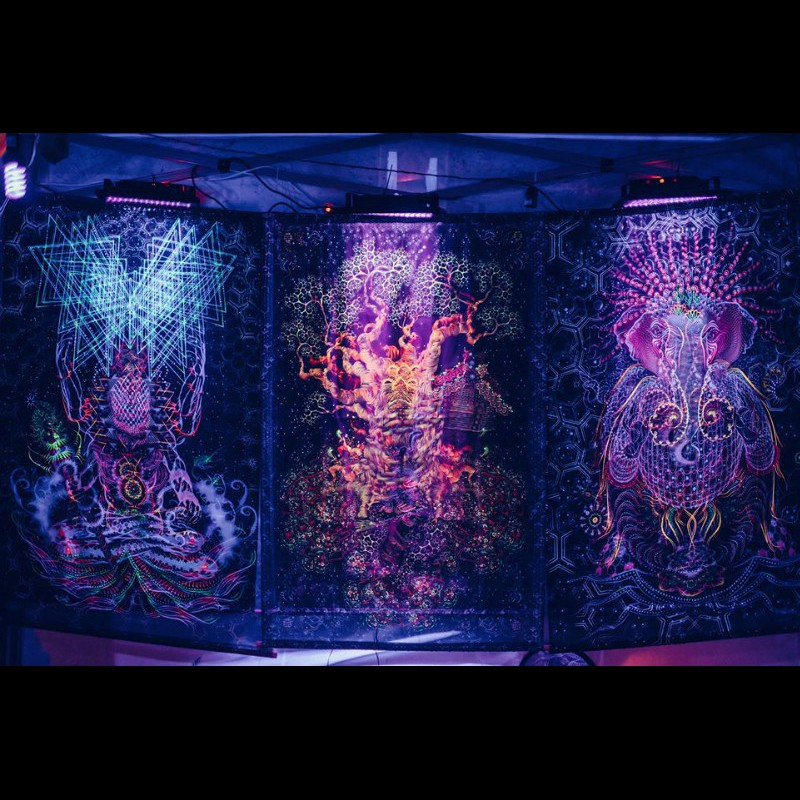 "Festival trippy sacred backdrop with the 3D effect ""Adept""."