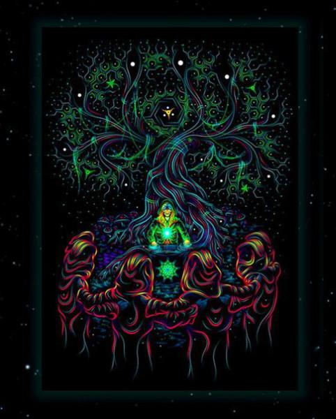 "Blacklight active psychedelic backdrop ""Endless Glade"""
