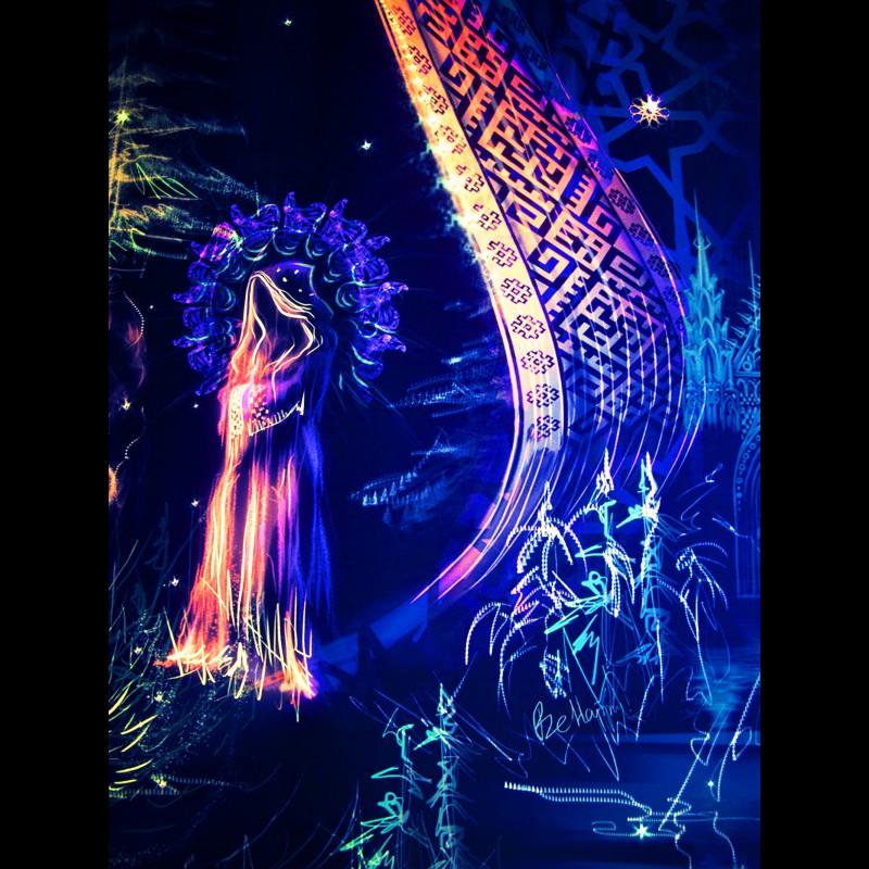 "Fluorescent tapestry ""Trilogy. Episode I. Spirit Of Fire""."