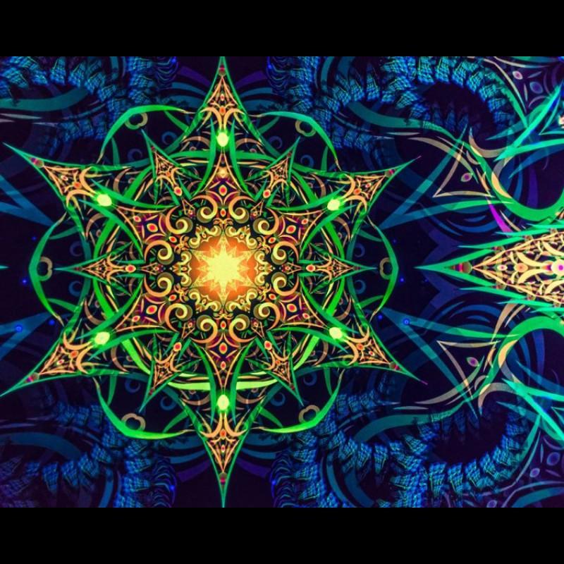 "Psychedelic fluorescent backdrop ""Reincarnation 2.0"""