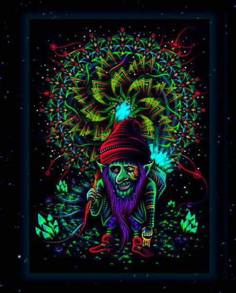 "Fluorescent luminous backdrop ""The Master of Portals"""