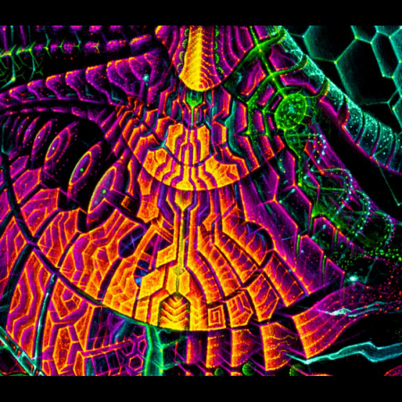 "Psychedelic fluorescent blacklight tapestry  ""Singularity Microcosma"""
