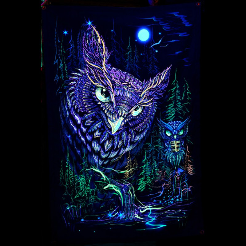 "Glow forest bohemian tapestry ""Mystic Owl"""
