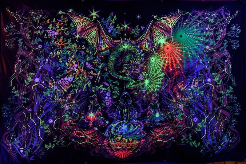 """Meditative trippy blacklight tapestry """"Tea Master"""""""
