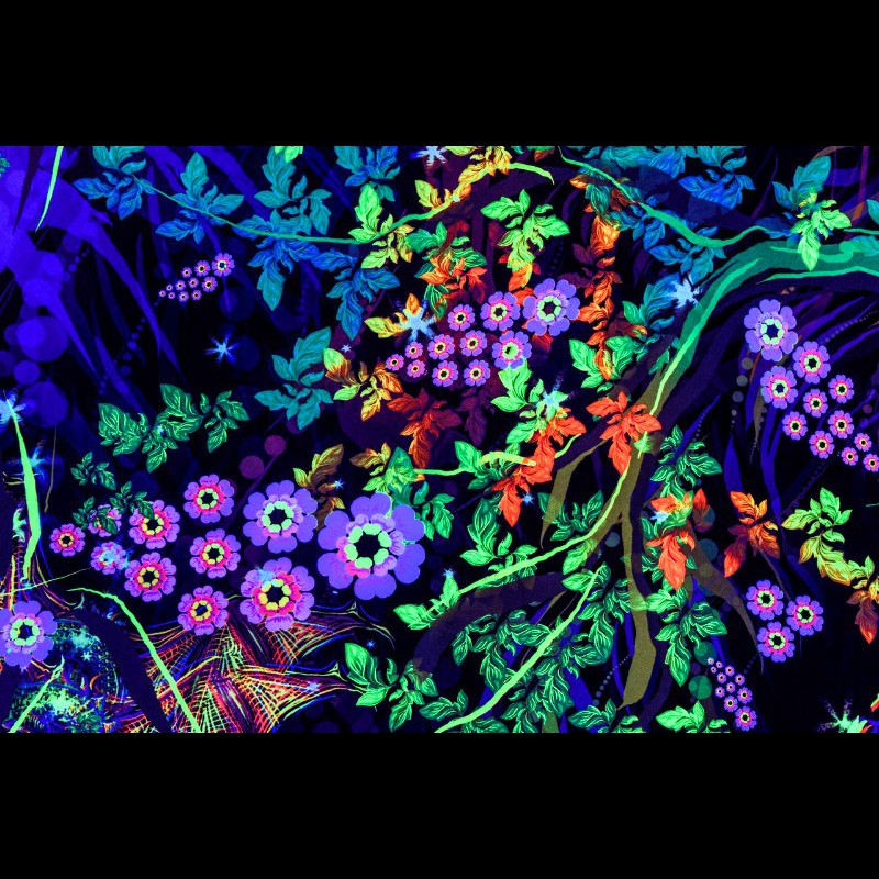 "Meditative trippy blacklight tapestry ""Tea Master"""