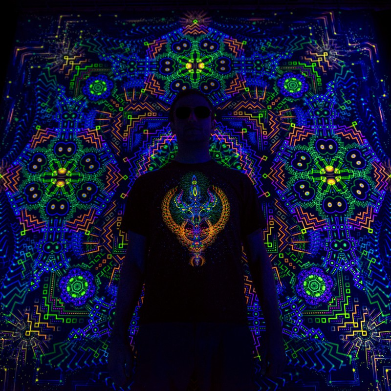 Fluorescent psychedelic UV reactive festival tapestry Cosmic Temple